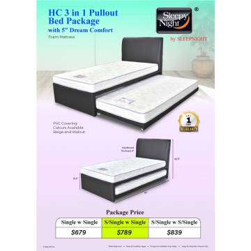 """HC 3 in 1 Pullout Bed Package with 5"""" Dream Comfort"""